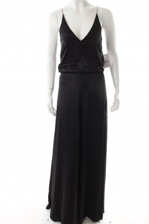 H&M Vestido de noche negro-color plata reluciente