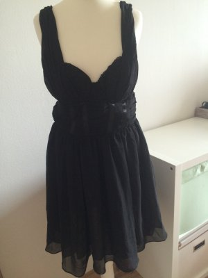 H&M Abendkleid Volant Kleid Bustier Corsage Chiffon schwarz 38 neu Silvester