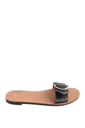 H&M Sandalias con tacón negro-marrón Estilo playero