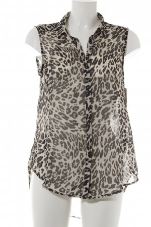 H&M ärmellose Bluse dunkelbraun-creme Animalmuster Casual-Look