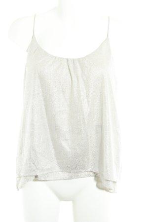 H&M ärmellose Bluse silberfarben-creme Allover-Druck Elegant