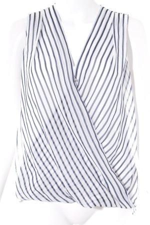 H&M ärmellose Bluse weiß-dunkelblau Streifenmuster Casual-Look
