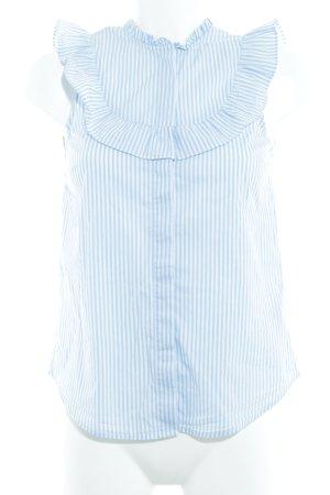 H&M ärmellose Bluse weiß-himmelblau Streifenmuster Romantik-Look
