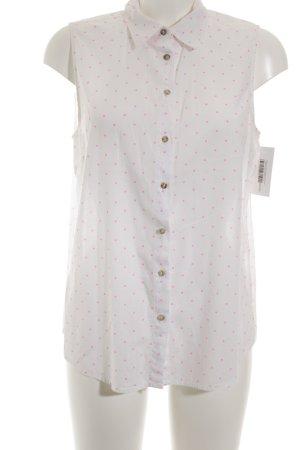 H&M ärmellose Bluse weiß-pink Punktemuster College-Look