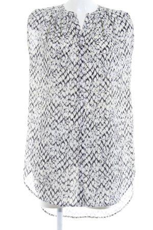 H&M ärmellose Bluse weiß-schwarz abstraktes Muster Business-Look