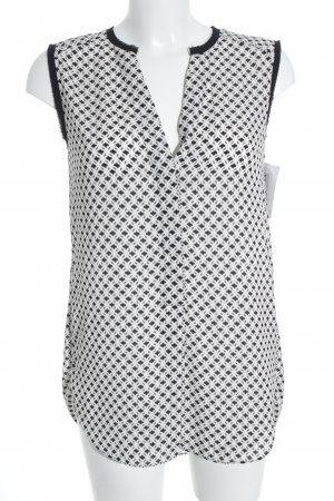 H&M ärmellose Bluse weiß-schwarz abstraktes Muster Casual-Look