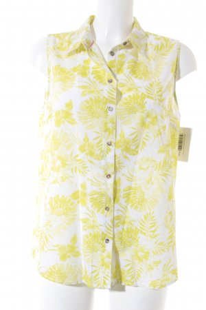 H&M ärmellose Bluse weiß-wiesengrün florales Muster Beach-Look