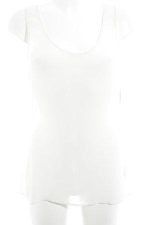 H&M ärmellose Bluse wollweiß Transparenz-Optik
