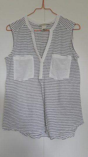 H&M Camisa de rayas blanco-azul oscuro Algodón