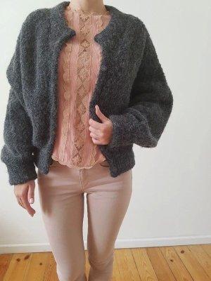 H&M Alpaka Wolle Jacke 34 36 XS S grau oversized knit Strickjacke Cardigan Überzieher Poncho Mantel Neu NP 90€