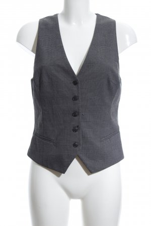 H&M Waistcoat light grey-black check pattern business style