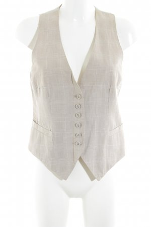 H&M Waistcoat beige-cream check pattern business style