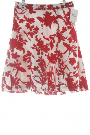 H&M Asymmetrie-Rock weiß-rot florales Muster Romantik-Look