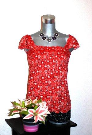 H&M Babydoll Top gr.38/40 Tunika Top Rot Flower Print