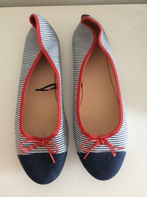 H&M Ballerinas 40 blau rot weiß Maritim Sommer