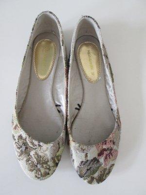 H&M Ballerinas aus geblümtem Gobelin Stoff mit Goldfaden Gr. 37/36