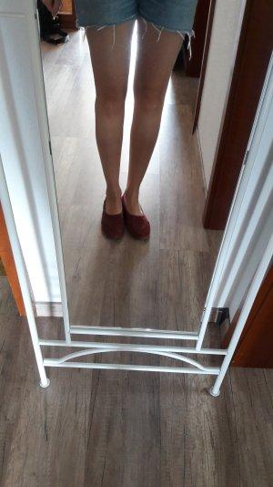 H&M Ballerinas Ballerina Flats Suede Wildleder Weinrot Bordeaux Burgundy 41