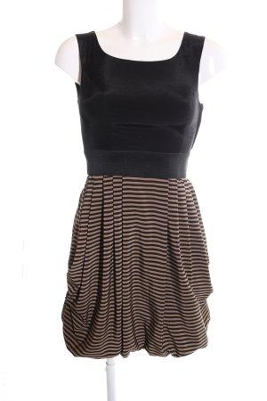 H&M vestido de globo negro-marrón estampado a rayas elegante