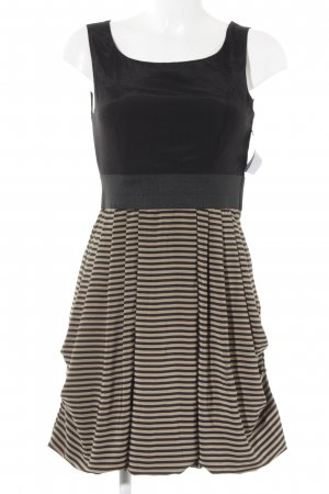 H&M Balloon Dress black-camel striped pattern business style