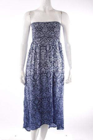 H&M Bandeau-Kleid blau gemustert