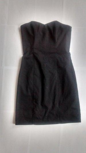 H&M Bandeaukleid Minikleid schwarz Gr. 34 XS gothic Kleid mini kurz trägerlos