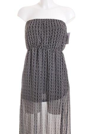 H&M Bandeaukleid schwarz-weiß Allover-Druck Casual-Look