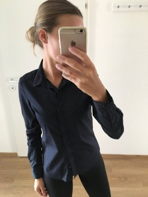 H&M Basic Bluse blau gepunktet