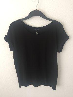 H&M Basic Boyfriend Shirt Schwarz