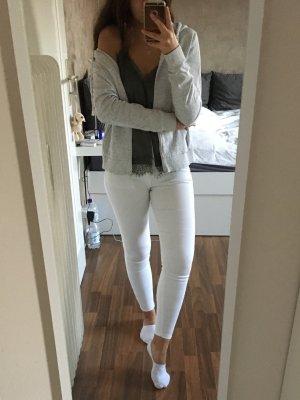 H&M Sweat Jacket natural white-light grey