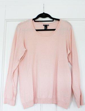 H&M Basic Pullover Feinstrick Rundhals peach pfirsich ungetragen