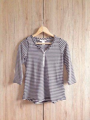 H&M Basic Shirt Longsleeve gestreift schwarz weiß Gr. S