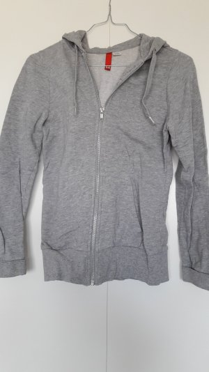 H&M Basic Sweatjacke grau meliert mit Kapuze Gr. 34