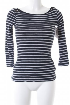 H&M Basic Top hellgrau-dunkelblau Streifenmuster Street-Fashion-Look