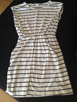 H&M Baumwoll Kleid weiß schwarz gestreift Größe XS / 34