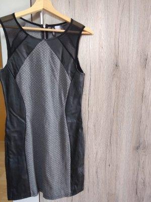 H&M Divided Leren jurk zwart-grijs