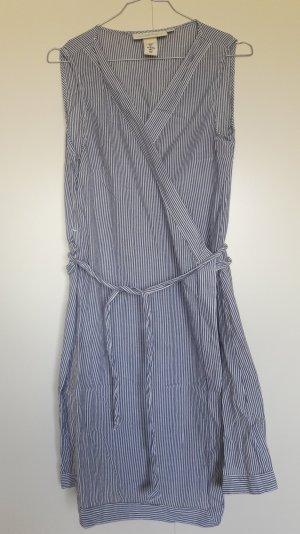 H&M Baumwolle sommerliches Wickelkleid gestreift blau weiß Gr. 36