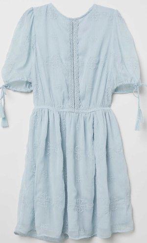 H&M besticktes Chiffon Kleid blau neu mit Etikett mit rücken 38 M