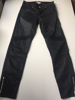 H&M Bikerhose, Anklejeans, Röhre, schwarz gewachst, Gr.:36
