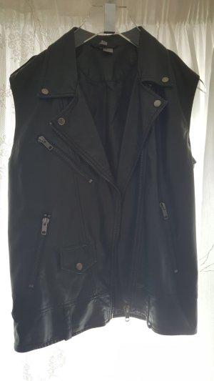 H&M Biker Vest black imitation leather
