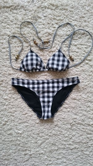 H&M Bikini Oberteil und Hose Gr. 38 weiss / schwarz / grau
