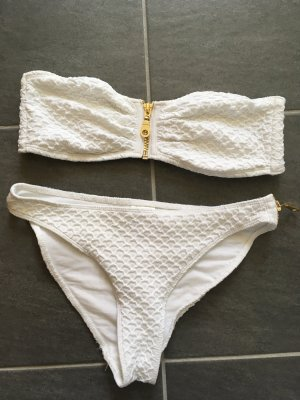 H&M Bikini weiß mit Gold Gr. 34/40