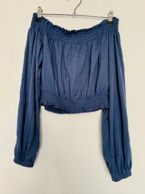 H&M Off the shoulder top korenblauw
