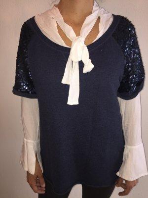 H&M blaues Shirt mit Paillettenärmeln M glamouröse Impressionen