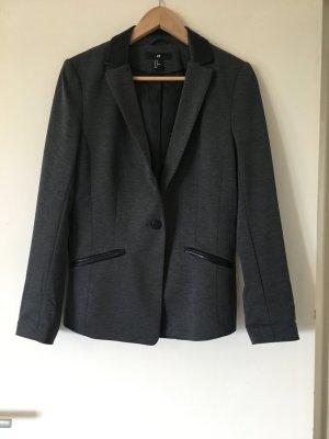 H&M Leren blazer zwart-grijs