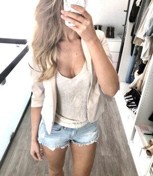 H&M Blazer Blouson Jacke creme beige nude S 36 Boyfriend