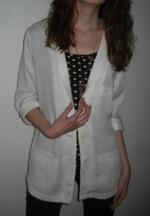 H&M Blazer Boyfriend weiß Jacke Long Taschen 34 36 38 XS S M Oversized Revers