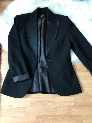 H&M Blazer de tela de sudadera negro-rojo oscuro