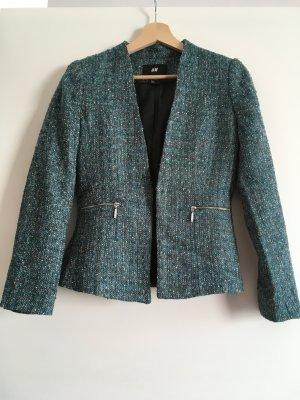 H&M Blazer grünblau Boucle