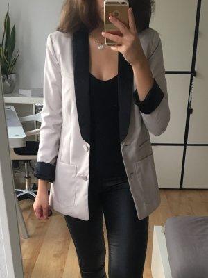 H&M Blazer boyfriend beige clair-noir