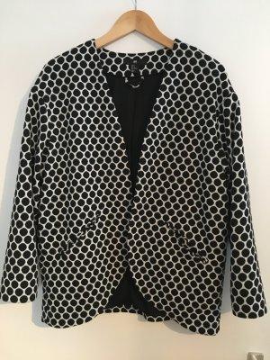 H&M Blazer Jacke Punkte Kreise Dots M Schwarz Weiß Muster Feiertage Büro Chic